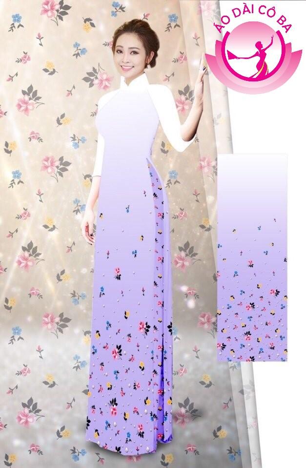 Áo dài tay lỡ họa tiết hoa nhỏ mẫu 1