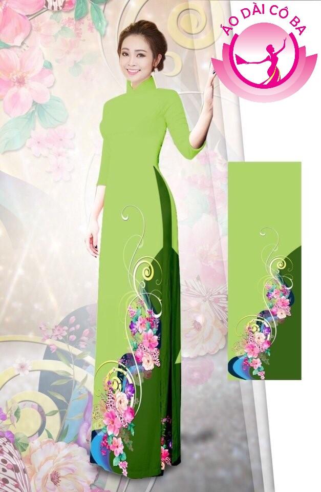Áo dài tay lỡ in hoa 3D mẫu 2
