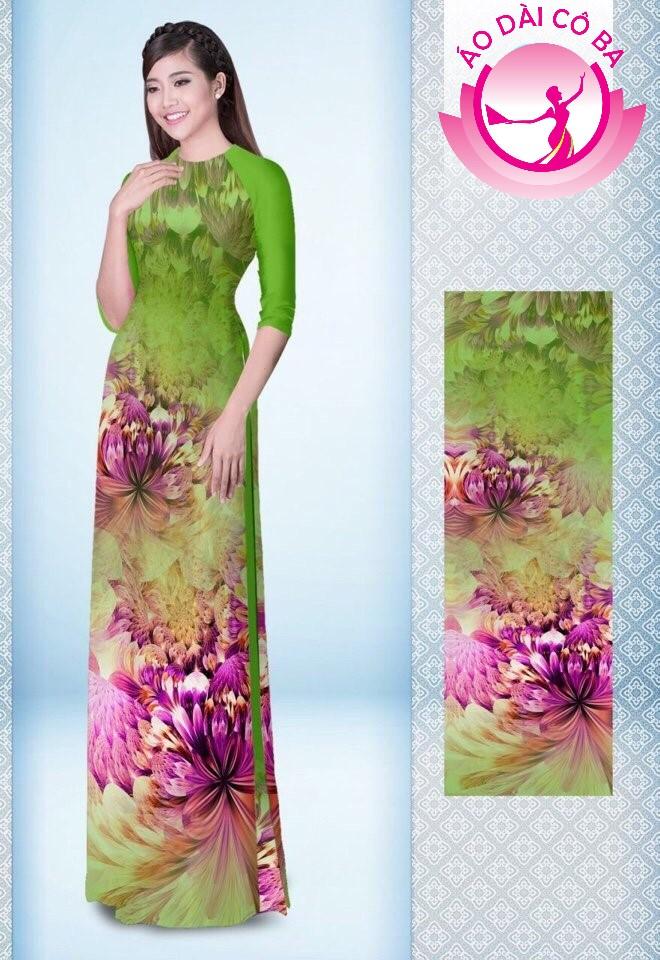 Áo dài truyền thống tay lỡ in hoa 3D mẫu 5