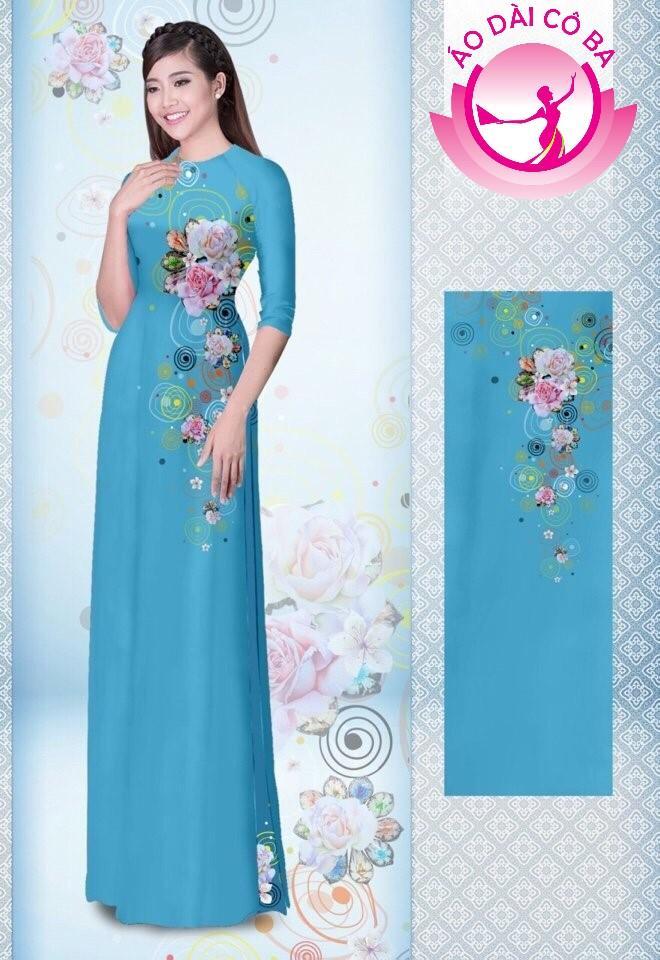 Áo dài truyền thống tay lỡ in hoa 3D mẫu 4