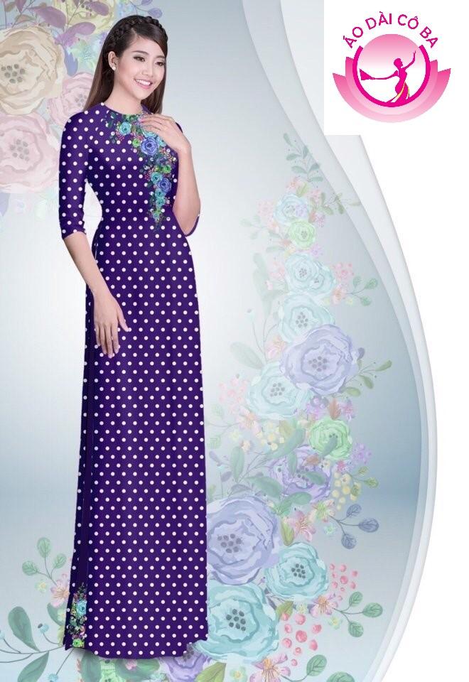 Áo dài truyền thốngtay lỡ in hoa chấm bi mẫu AD B2905