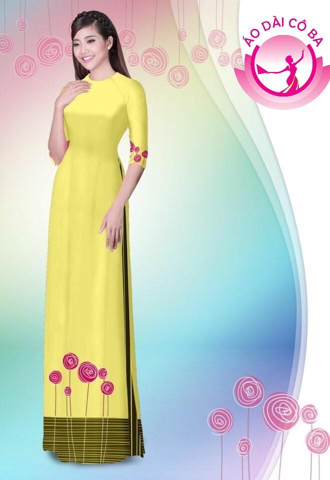 Áo dài tay lỡ in hoa hồng mẫu 51