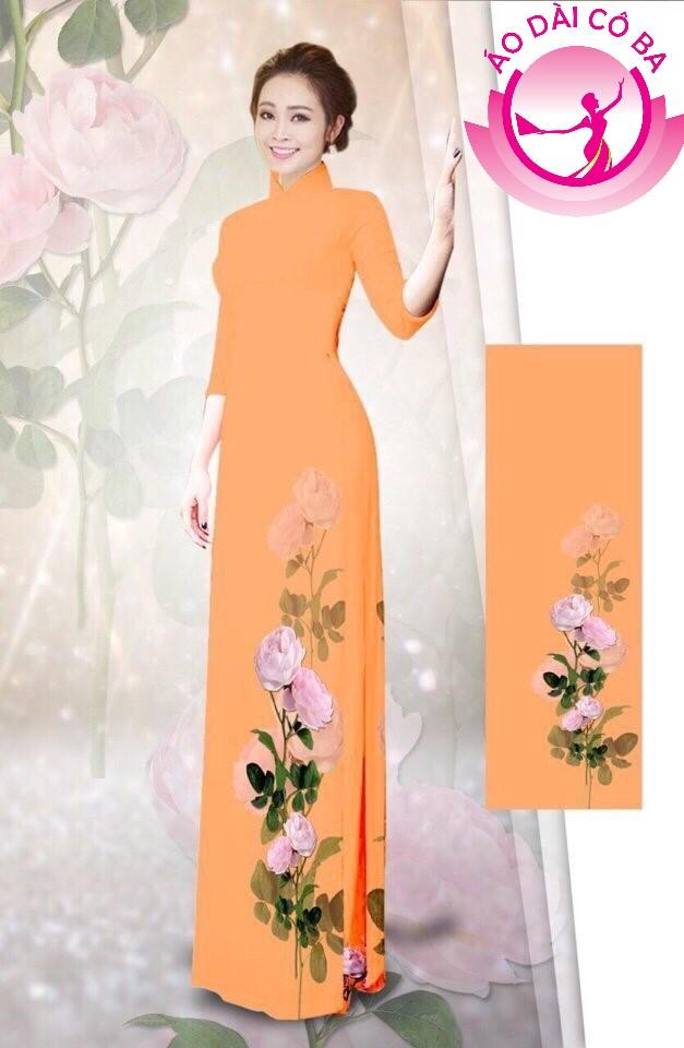 Áo dài tay lỡ in hoa hồng mẫu 1