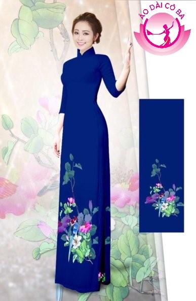 Áo dài tay lỡ in hoa lá mẫu 1