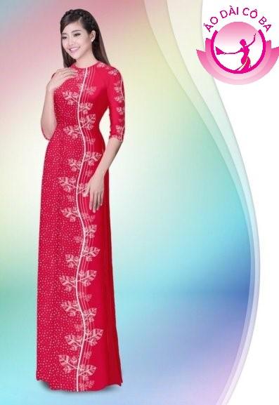 Áo dài tay lỡ in hoa lá mẫu 2