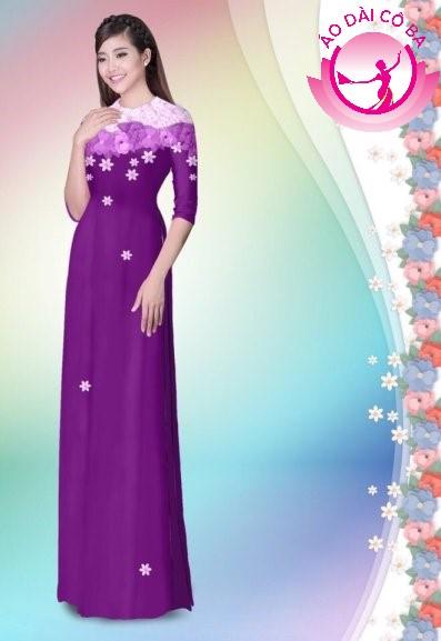 Áo dài tay lỡ in hoa lá mẫu 3