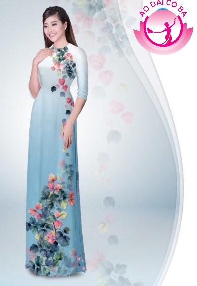 Áo dài tay lỡ in hoa lá mẫu 4