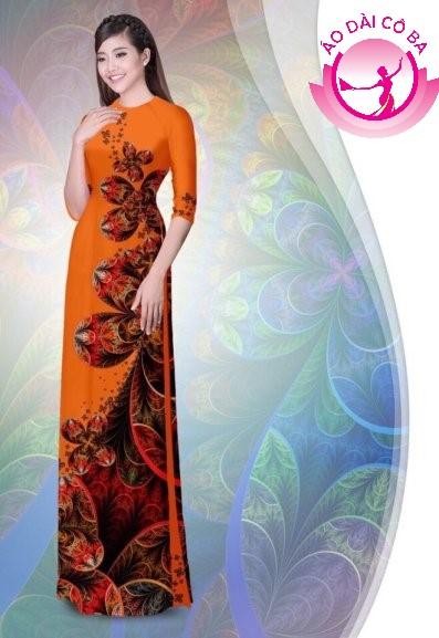 Áo dài tay lỡ in hoa lá mẫu 5