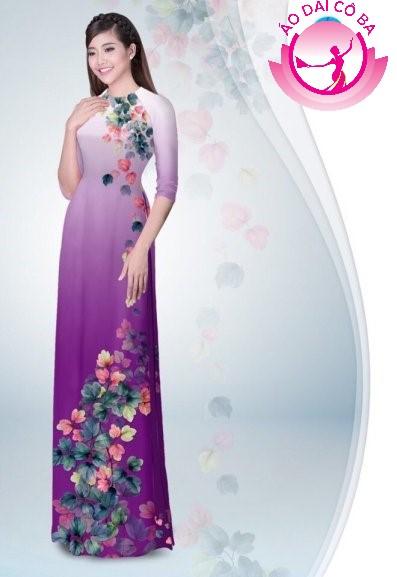 Áo dài tay lỡ in hoa lá mẫu 6