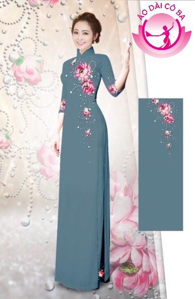 Áo dài tay lỡ in hoa lá mẫu 7