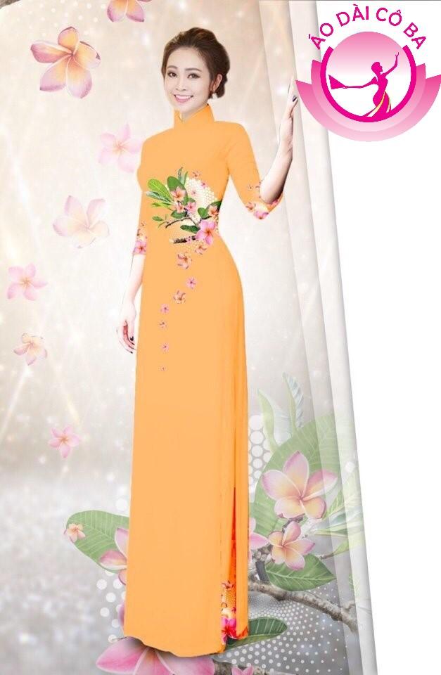 Áo dài tay lỡ in hoa lá mẫu 8