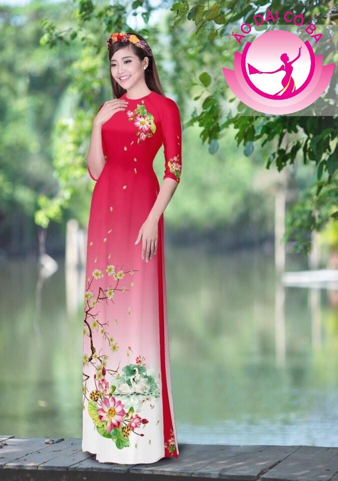 Áo dài tay lỡ in hoa mai hoa đào mẫu 1