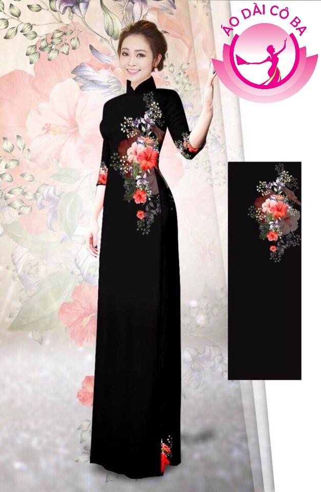 Áo dài tay lỡ in hoa mẫu 1