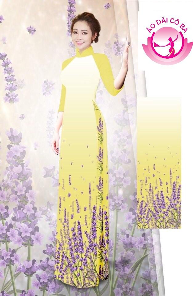 Áo dài truyền thống tay lỡ in hoa mẫu AD B2904