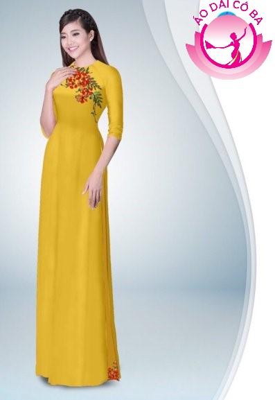 Áo dài tay lỡ in hoa phượng mẫu 1