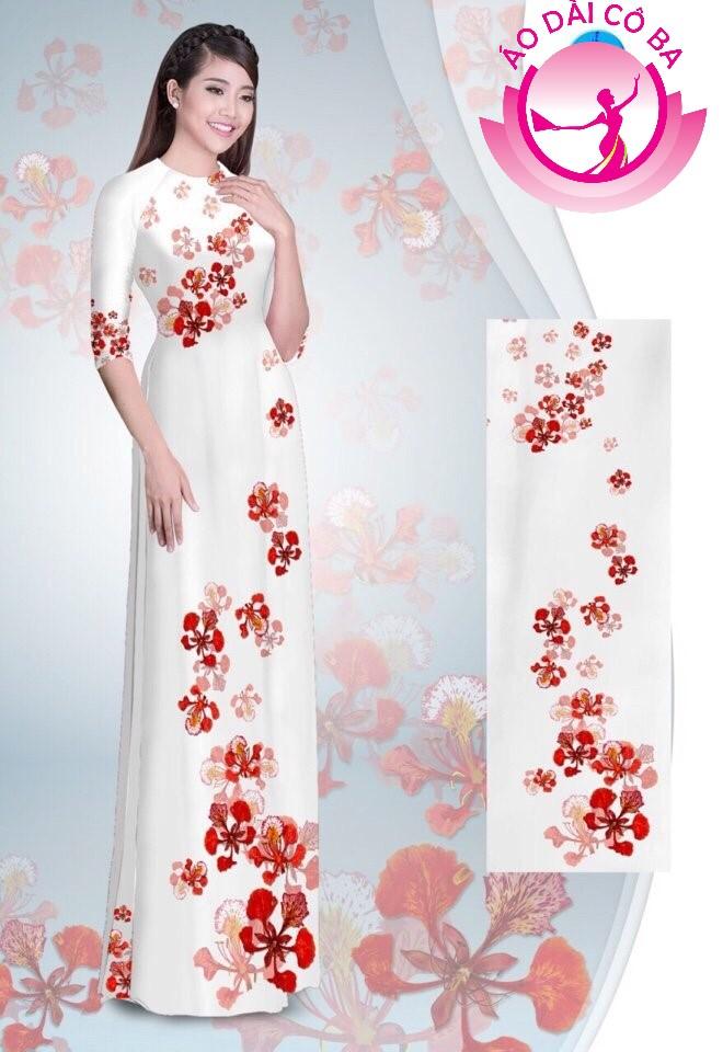 Áo dài tay lỡ in hoa phượng mẫu 2