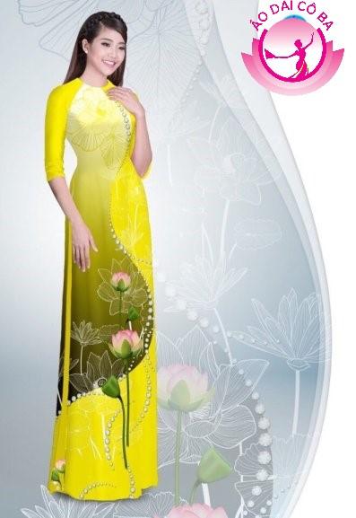 Áo dài tay lỡ in hoa sen mẫu 1