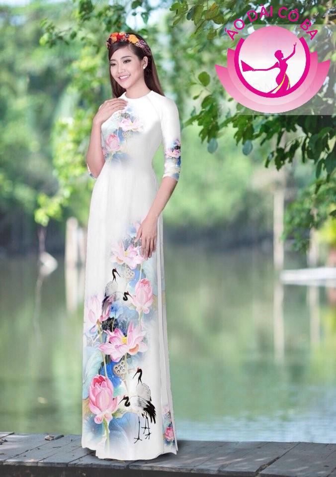Áo dài tay lỡ in hoa sen mẫu AD N2106