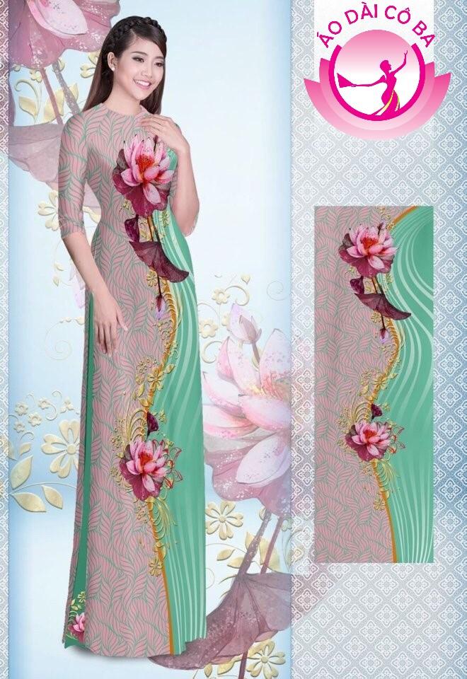 Áo dài truyền thống tay lỡ in hoa sen mẫu 3