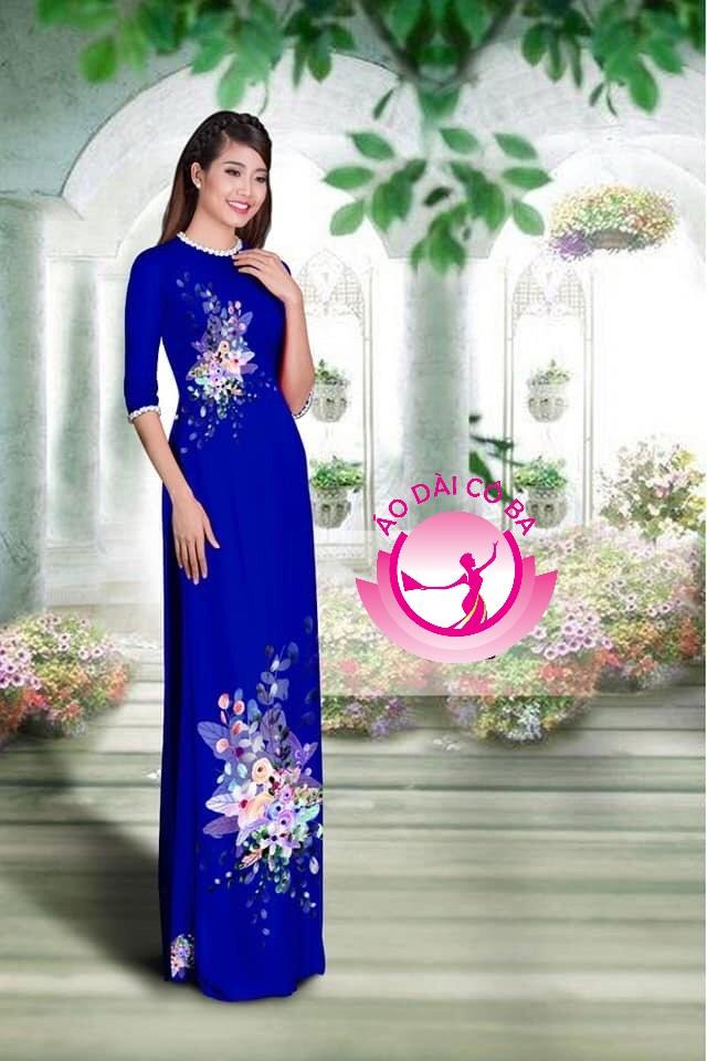 Áo dài tay lỡ in hoa trên dưới mẫu 1