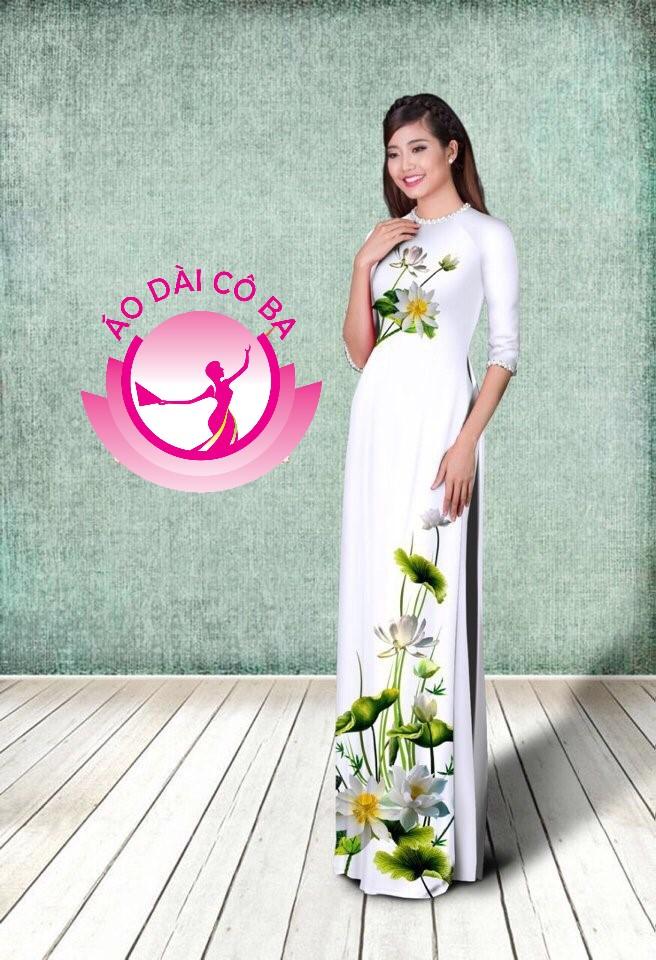 Áo dài truyền thống tay lỡ in hoa trên dưới mẫu 11