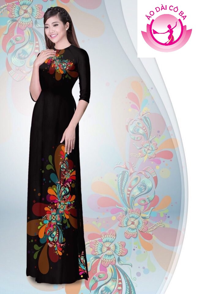 Áo dài truyền thống tay lỡ in hoa trên dưới mẫu AD B2903