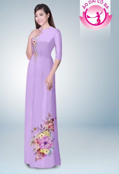 Áo dài tay lỡ in hoa trên dưới mẫu 2