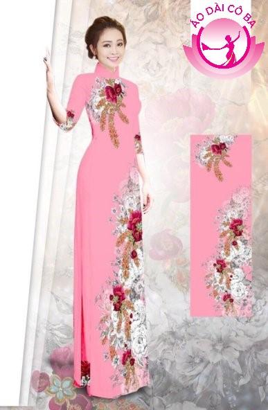 Áo dài tay lỡ in hoa trên dưới mẫu 3