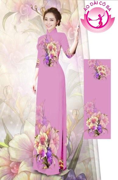 Áo dài tay lỡ in hoa trên dưới mẫu 4