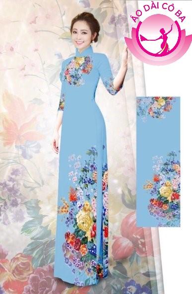 Áo dài tay lỡ in hoa trên dưới mẫu 6