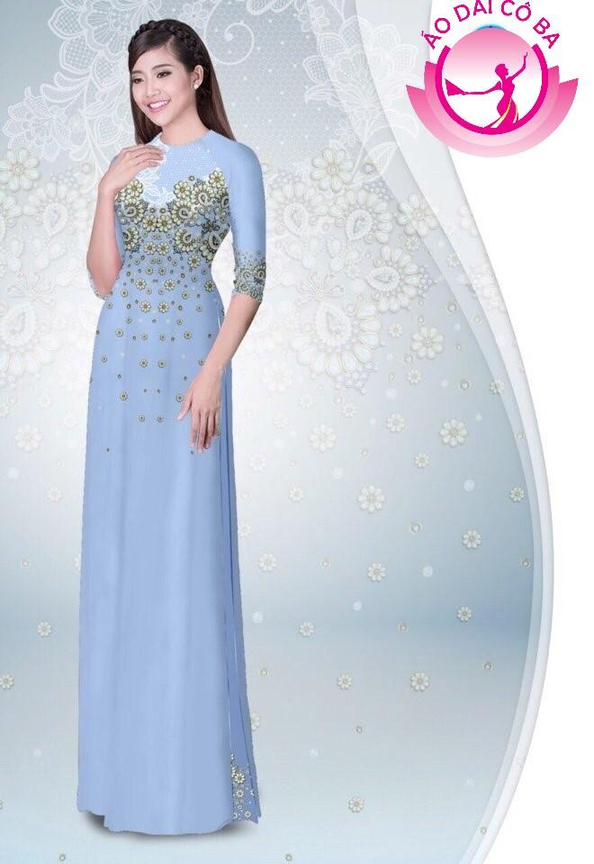Áo dài tay lỡ in hoa trên dưới mẫu 5