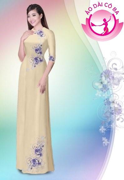 Áo dài tay lỡ in hoa trên dưới mẫu 7
