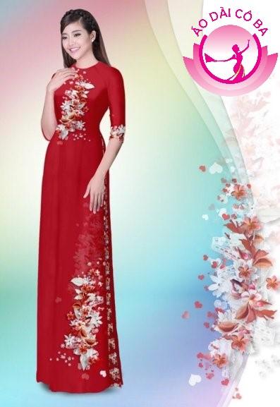 Áo dài tay lỡ in hoa trên dưới mẫu 31