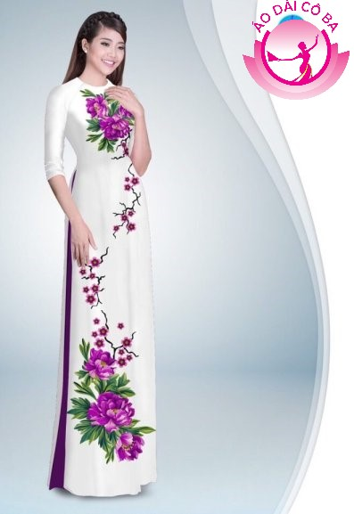 Áo dài tay lỡ in hoa trên dưới mẫu 30