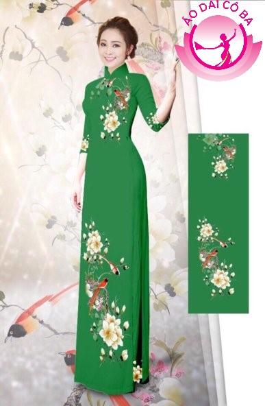 Áo dài tay lỡ in hoa trên dưới mẫu 8