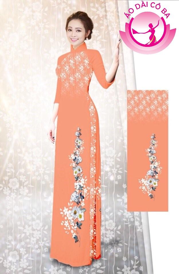 Áo dài tay lỡ in hoa trên dưới mẫu AD B2941
