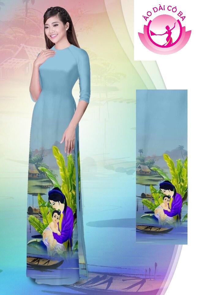 Áo dài tay lỡ in hoa văn mẫu AD B2925