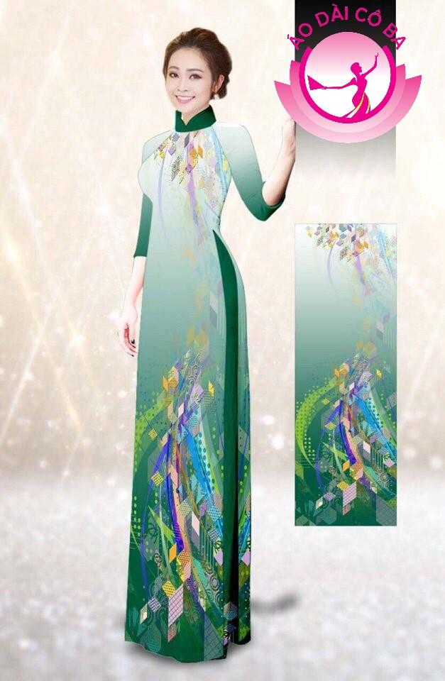 Áo dài truyền thống tay lỡ in hoa văn mẫu 4