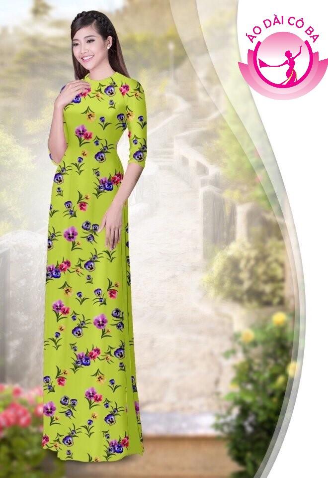 Áo dài truyền thống họa tiết hoa lá mẫu AD4780