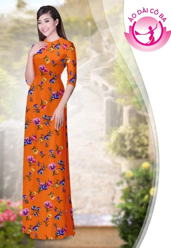 áo dài truyền thống họa tiết hoa lá mẫu 1.10