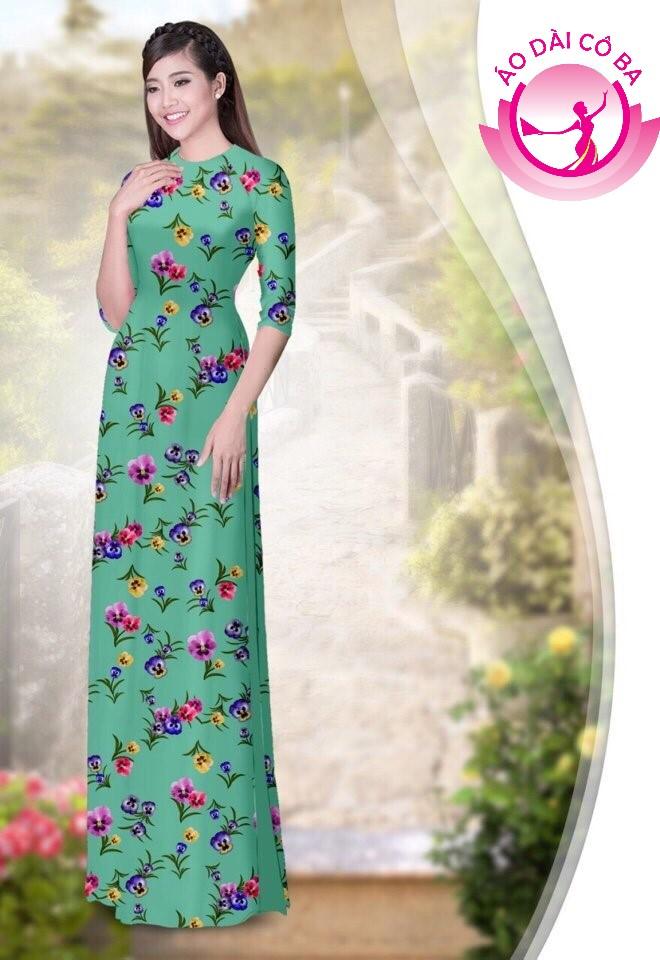 áo dài truyền thống họa tiết hoa lá mẫu 1.12