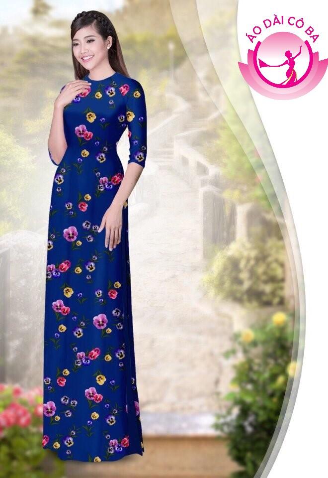 áo dài truyền thống họa tiết hoa lá mẫu 1.13