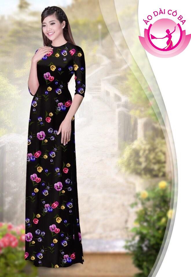 áo dài truyền thống họa tiết hoa lá mẫu 1.14