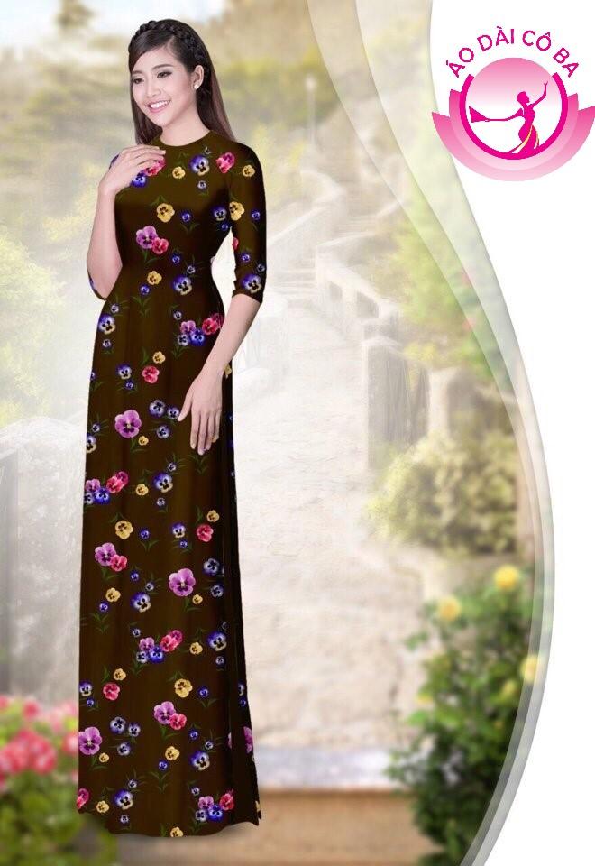 áo dài truyền thống họa tiết hoa lá mẫu 1.15