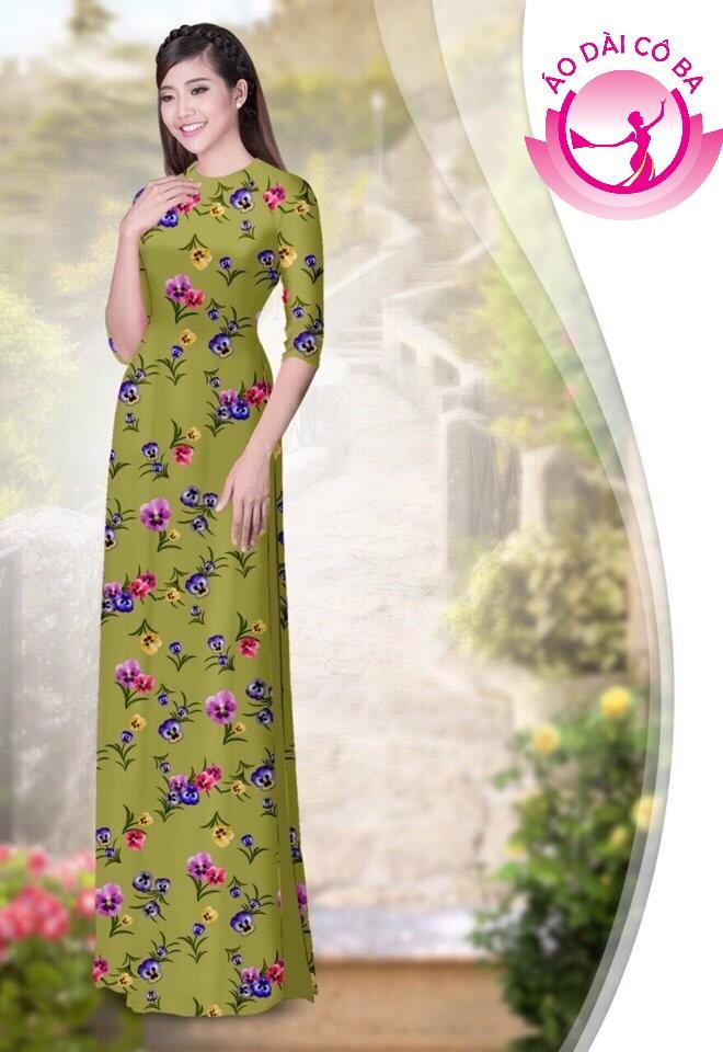 áo dài truyền thống họa tiết hoa lá mẫu 1.2