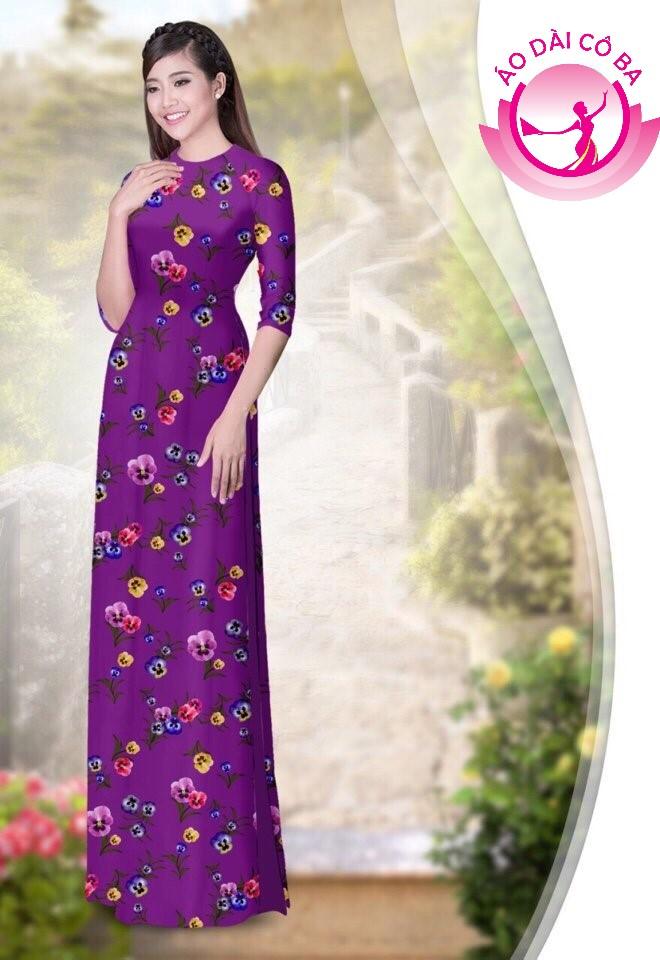 áo dài truyền thống họa tiết hoa lá mẫu 1.3