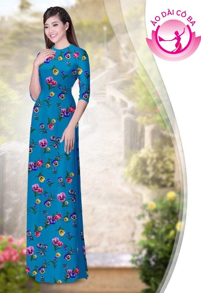 áo dài truyền thống họa tiết hoa lá mẫu 1.4