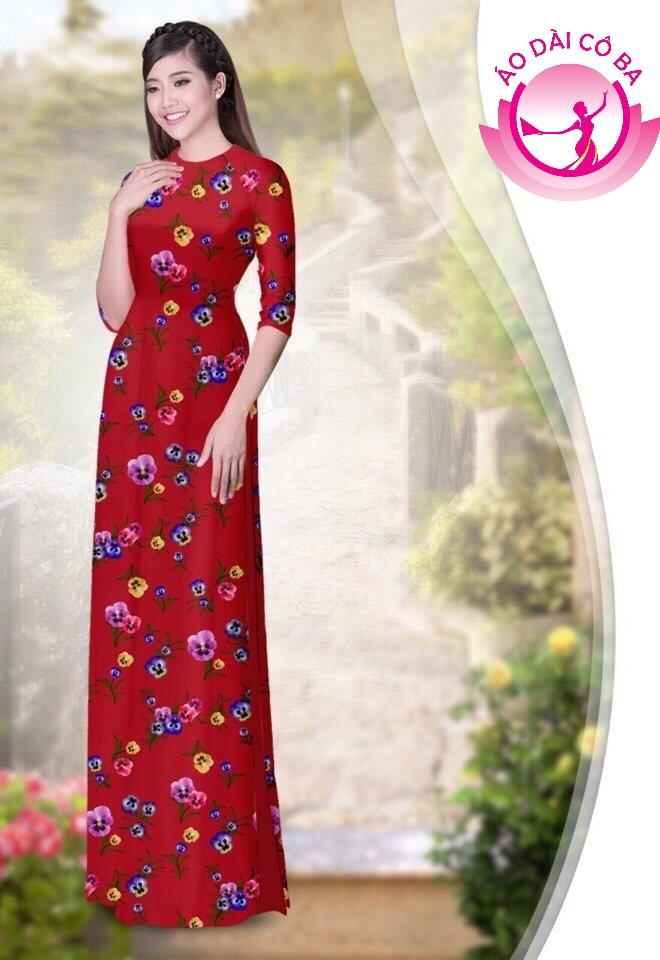 áo dài truyền thống họa tiết hoa lá mẫu 1.8