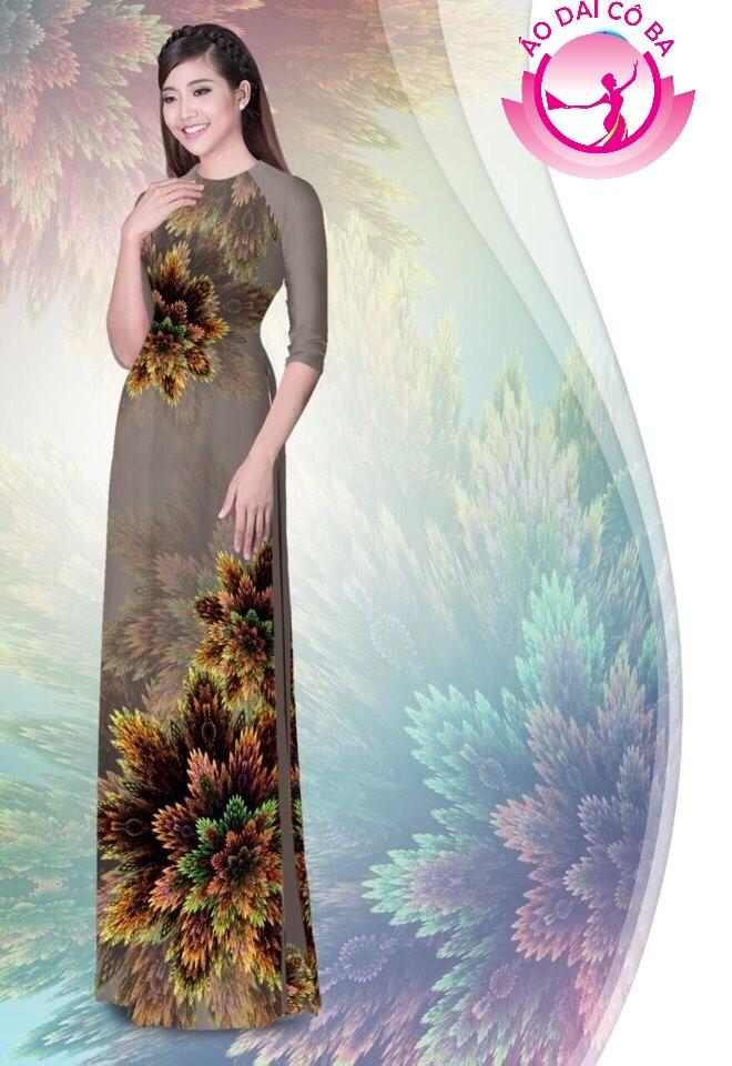 Áo dài truyền thống in hoa 3D mẫu AD B3085