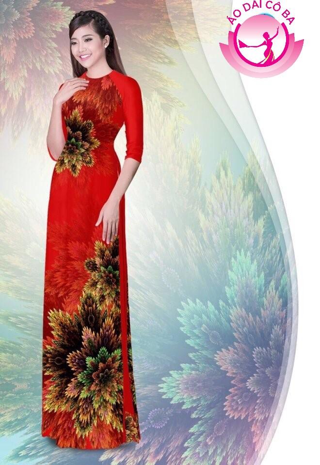 Áo dài truyền thống in hoa 3D mẫu 1.11